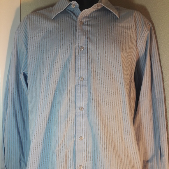 Perry Ellis Mens Striped Collar Button Up Shirt